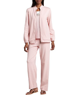 Joan Vass Interlock Zip Jacket, Beaded Jersey Shell & Interlock Stretch Pants