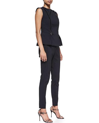 Veronica Beard Scuba Moto Peplum Top and Slim Zip Trousers