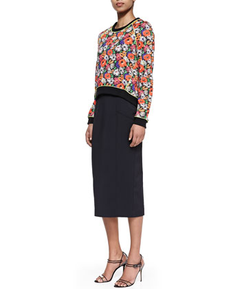 Hothouse Floral-Print Scuba Sweatshirt & Cotton Pencil Skirt