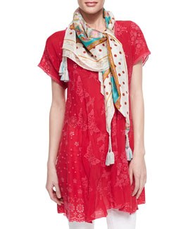 Johnny Was Collection V-Neck Patchwork Butterfly Tunic & Polka Dot Paisley Printed Silk Scarf