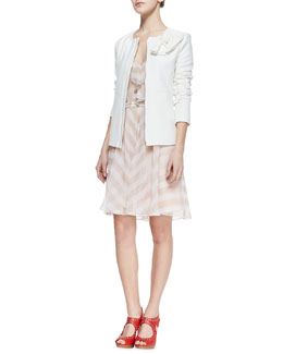 Nanette Lepore Sweet Lover Textured Crepe Jacket & Subtle Hint Striped Silk Dress