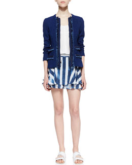 Nanette Lepore Dreamy Denim Knit Jacket, Ever After Voile Short-Sleeve Top & Striped-Silk Flirty Skort