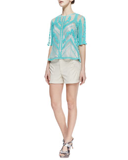 Nanette Lepore Imagination Embroidered Sheer Top & Lovie Dovie Gathered Twill Shorts