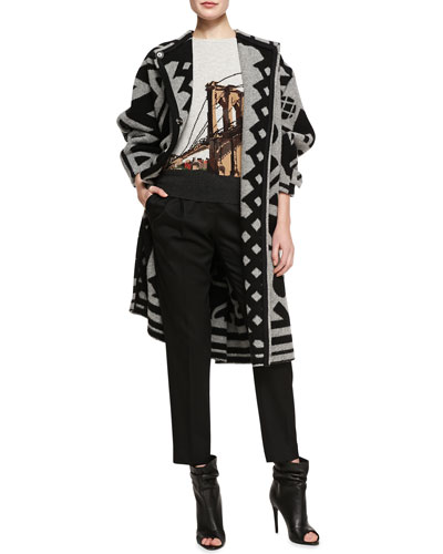 Burberry Prorsum Double-Breasted Printed Coat, Brooklyn Bridge Intarsia Sweater & Cropped Pleated Trousers