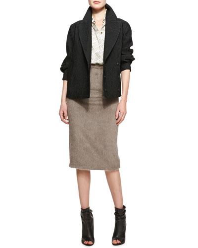 Burberry Prorsum Tailored Short Jacquard Jacket, London Map-Print Collared Button-Up Blouse & Mid-Length Pencil Skirt