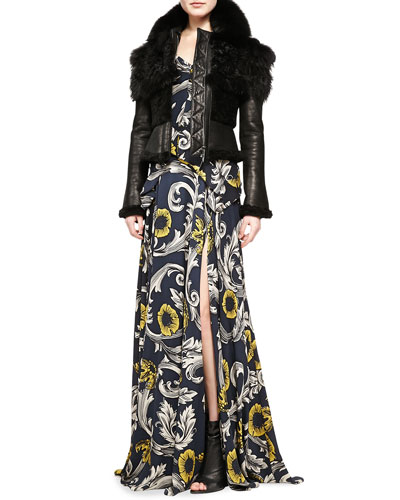 Burberry Prorsum Cropped Fur/Leather Jacket & Scroll and Floral Printed Evening Gown