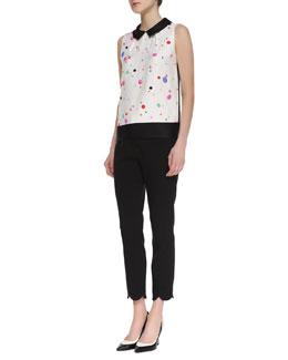 kate spade new york harlow sleeveless beaded blouse & jackie scalloped capri pants