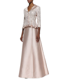 Kay Unger New York Sequin-Lace Jacket with Silk Trim & Silk-Blend A-Line Long Full Skirt