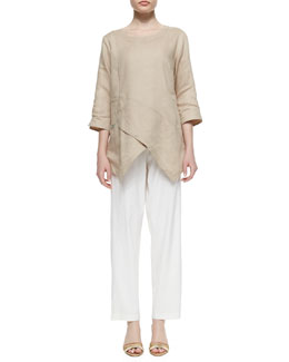 Go Silk Linen Asymmetric Long Tunic & Linen Slim Pants, Petite