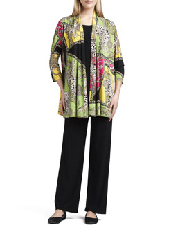 Caroline Rose Miami Print Long Cardigan, Knit Long Tunic/Tank & Straight-Leg Jersey Pants
