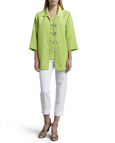 Caroline Rose Shantung Big-Button Shirt, Tank & Slim Capris