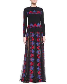 Valentino Jersey Horizontal-Stripe Embroidered Top & Sheer/Embroidered Paneled Long Skirt