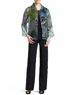 Caroline Rose Patchwork Easy Shirt/Jacket, Silk Crepe Tank & Straight-Leg Silk Crepe Pants, Petite