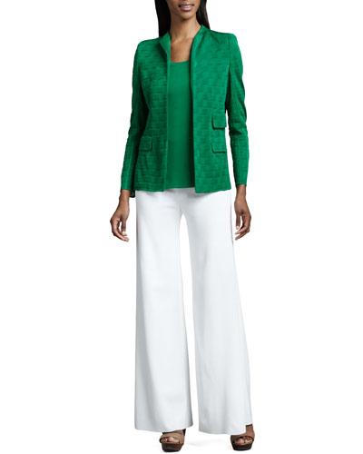 Misook Lilly Textured Jacket, Amy Knit Tank, Palazzo Pants