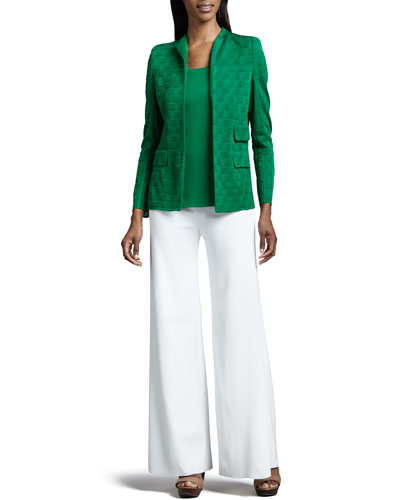 Misook Lilly Textured Jacket, Amy Knit Tank, Palazzo Pants, Petite