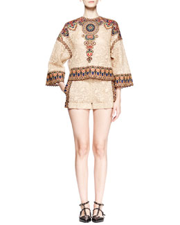 Valentino Embroidered Lace Dolman Tunic and Cuffed Shorts