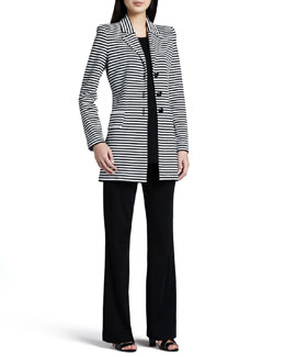 Misook Amelie Long Striped Jacket, Cathy Scoop-Neck Tank & Casey Boot-Cut Knit Pants, Women's