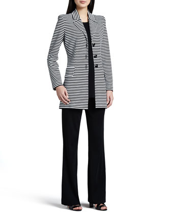 Amelie Long Striped Jacket, Cathy Scoop-Neck Tank & Casey Boot-Cut Knit ...