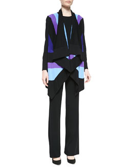 Misook Ophelia Striped Grid-Stitch Cardigan, Cathy Scoop-Neck Tank & Casey Straight-Leg Pants, Petite