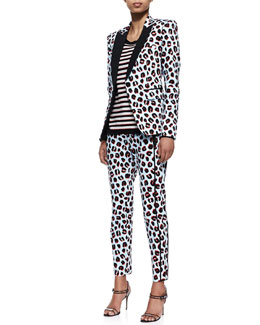 Veronica Beard Leopard-Print Tuxedo Jacket & Stripe Knit Long-Sleeve Pullover & Skinny-Leg Trousers
