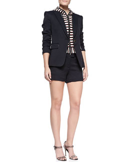 Veronica Beard Hooded Detachable-Dickey Jacket & Tailored Woven Shorts