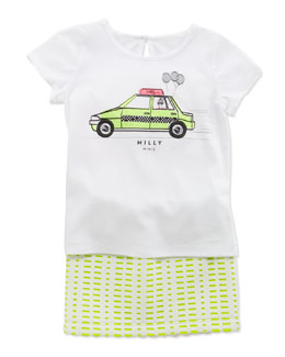 Milly Minis Taxi-Print Tee & Perforated Scuba Skirt, Sizes 2-6