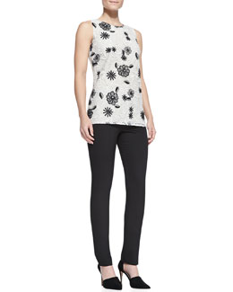 Lela Rose Sleeveless Floral Lace Shell & Catherine Slim Straight-Leg Pants