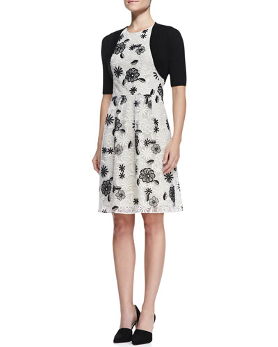 Lela Rose Classic Half-Sleeve Shrug & Full-Skirt Floral Lace Dress