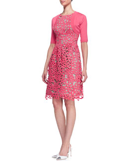 Lela Rose Half-Sleeve Shrug & Floral Guipure Lace Dress