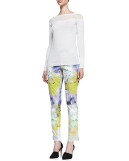 Lela Rose Boat-Neck Knit Tee & Caroline Watercolor-Print Slim Pants