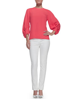 Lela Rose Full-Sleeve Blouse & Catherine Slim Straight-Leg Pants