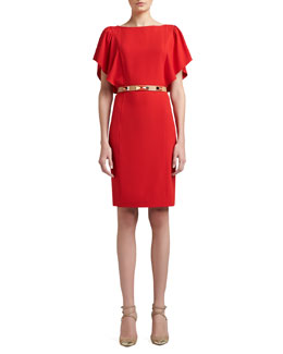 St. John Collection Luxe Crepe Bateau Neck Dress with Shoulder Ruffle & Narrow Leather Waist Belt