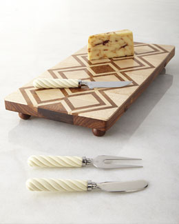 Oscar de la Renta Teak Cheese Board & Kent Cheese Server Set