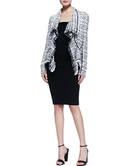 Donna Karan Tweed Cascade Cardigan, Twist-Strap Draped Top & Chain-Trim Fitted Straight Skirt