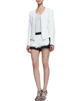 Rebecca Minkoff Miles Silk Zip-Front Jacket & Leo Combo Lace-Detail Shorts