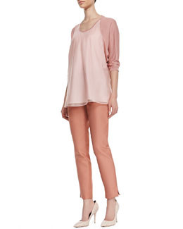 Lafayette 148 New York Cashmere Tunic with Silk Overlay & Stanton Straight-Leg Ankle Pants