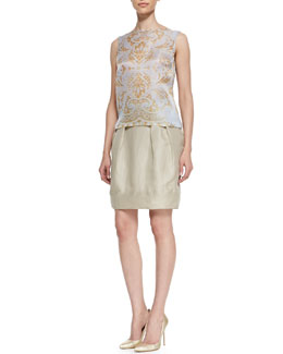 Lafayette 148 New York Maddie Sleeveless Damask Top & Jackie Pleated Silk Skirt