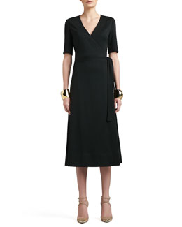 St. John Collection Milano Knit Boot Length Tie Wrap Dress with Pockets & Tribal Pyramid Shape Cuff