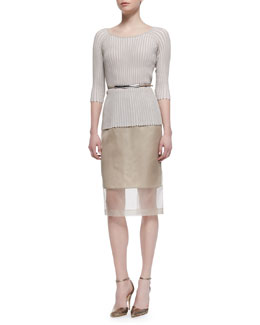 Lafayette 148 New York Pleated Stripe 3/4-Sleeve Sweater, Slim Skirt with Organza Overlay & Leather Prong Belt