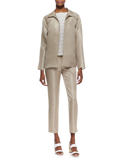 Lafayette 148 New York Zinep Silk Organza Topper, Maddie Woven Sleeveless Top & Stanton Satin Straight-Leg Pants