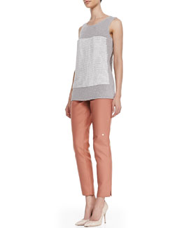 Lafayette 148 New York Crochet-Knit Scoop-Neck Tank & Stanton Straight-Leg Ankle Pants