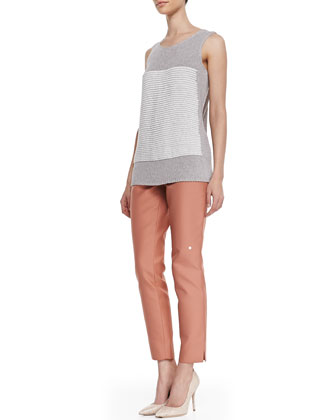 Crochet-Knit Scoop-Neck Tank & Stanton Straight-Leg Ankle Pants