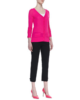 kate spade new york cary v-neck cardigan & jackie bow-cuff capri pants