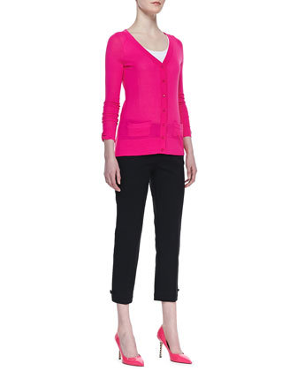 cary v-neck cardigan & jackie bow-cuff capri pants