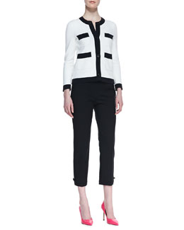kate spade new york baxter contrast trim jacket & jackie bow-cuff capri pants