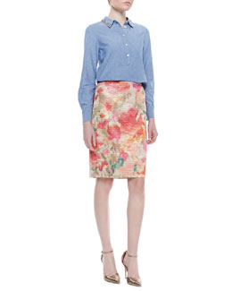 kate spade new york xander long-sleeve button-up shirt & marit floral print pencil skirt