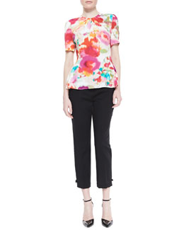 kate spade new york tulip floral-print top and jackie bow-cuff capri pants