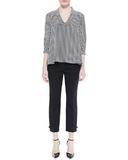 kate spade new york adena v-neck houndstooth top and jackie bow-cuff capri pants