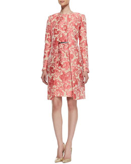 Lafayette 148 New York Roland Embroidered Floral Jacket, Evelyn Embroidered Floral Sleeveless Dress & Leather Prong Belt