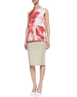 Lafayette 148 New York Sari Sleeveless High-Low Blouse & Modern Slim Skirt